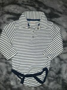 JoJo Maman Bébé navy striped long sleeved bodysuit top 12-18 months boys