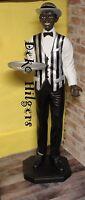 Black Boy Kellner Butler Statu Afrika Figur Skulptur Lebensgroß Groß Deko Silber