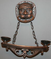 VINTAGE RUSSIAN METAL WALL HANGING CANDLE HOLDER LION HEAD