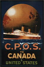 """1920 CPOS to Canada United States Vintage Travel Poster Ad 13 x 19"""" Photo Print"""