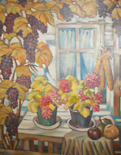 Vintage large floral grapes oil painting