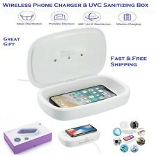 UV UVC LED Cell Phone Virus Sanitizer Cleaner Box & QI Wireless Charger *OnSALE*