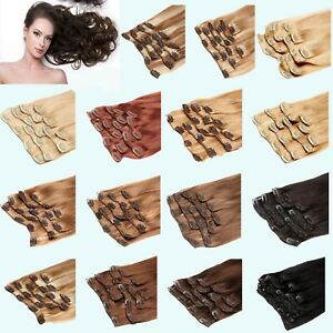 Full Head Thick Double Weft Sewn Clip in Hair Extensions Real Remy Human Hair8pc