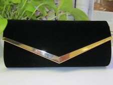 NEW - Ladies Velvet Evening bag - Black with Gold Trim