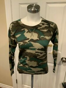 J.Crew Laine Merino Vert Camouflage Pull Col Rond, TAILLE XS