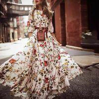 Col rond Bohème en mousseline de soie imprimé neuf manches robe pour femmes