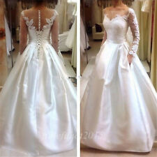 New Satin White/Ivory Wedding Dresses Long Sleeve A-line Bridal Gown Custom Size