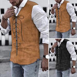 Men's Medieval Formal Waistcoat Gothic Victorian Steampunk Vest Jackets T Shirt