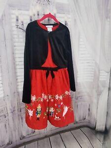 Bonnie Jean 10 Girl's NWT Christmas Nutcracker Ballet Print Dress Velvet  Red