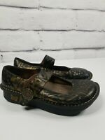 Alegria Womens 7/7.5 Eur 37 Mary Jane Shoes Paloma Black Gold Embossed Leather