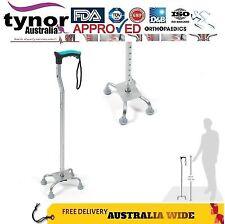 Tynor Adjustable Walking Stick Quadripod Quad Cane Ergonomic Wide Base TPE Pods