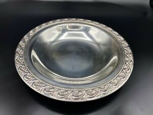 "WM Rogers Silverplate Nut & Candy Dish Serving Saucer Floral, #748, 7 3/8"" Dia"