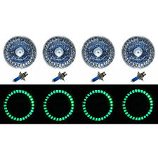 5-3/4 Halogen Green LED Ring Halo Angel Eyes Projector Headlight Light Bulbs Set