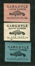 Vintage Local Post Stamps GARGOYLE MOTOR EXPRESS set of 3 blue pink white