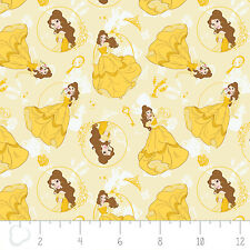 Disney Belle Beauty & The Beast Yellow Camelot 100% cotton fabric by the yard