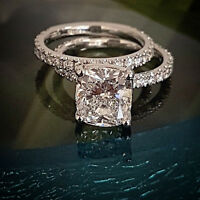 2.10 Ct Cushion Cut Diamond Round Cut Pave Engagement Ring Set G,VS2 GIA 18K WG