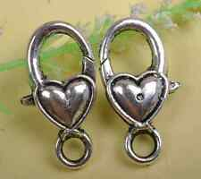 NP348 Wholesale 5pcs tibetan silver Small Heart lobster clasp 17X9MM