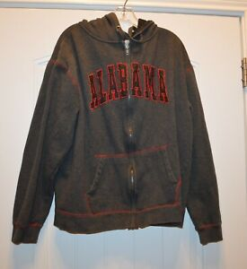 Colosseum Athletic's   Men's Size XXL Grey Red  Alabama Hoodie Sweat Shirt Coat