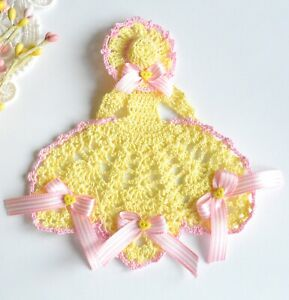 Spring Crinoline Lady Hand Crochet Doily / Yellow & Pink / Easter Girl