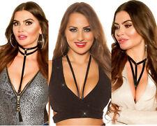 Sexy Collana Donna Tessuto nero nastro busto Per Il Corpo 3 modelli nuova #