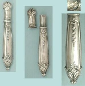 Pretty Antique Silver Needle Case w/ French Hallmarks * Circa 1890s