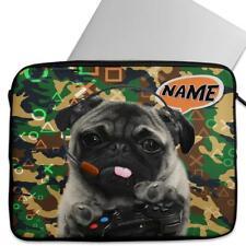 Personalised Laptop Cover CAMO GAMER PUG Neoprene Sleeve Case Universal