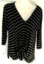 Cha Cha Vente Draped Front Black and Gray Striped Top Sz L