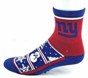New York Giants Football Holiday Snowman Gripper Bottom Deuce Quarter Socks