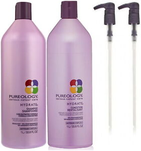 PUREOLOGY HYDRATE SHAMPOO 1 LITRE AND CONDITIONER 1 LITRE DUO WITH PUMPS