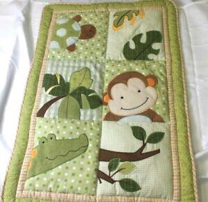 "Lambs & Ivy Papagayo Jungle Mini CRIB Quilt Blanket 35"" By 23""  Green & Orange"
