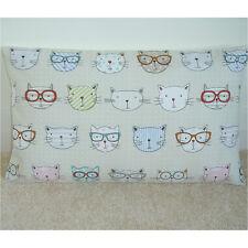 "20""x12"" Oblong Bolster Cat Cushion Cover Cats in Glasses Pink Blue Aqua Orange"