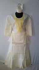 Women Clothing African Dashiki Skirt Suit Attire Off White Free Size Print #9320