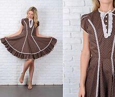 Vintage 70s Brown Mod Dress White Lace Crochet Polka Dot Full Mini Small S
