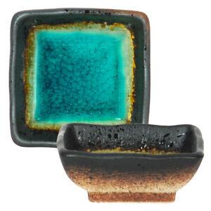 "2 PCS. Japanese 2.75"" SQ Ceramic Soy Sauce Dipping Bowl Dish Green Kosui Crackle"