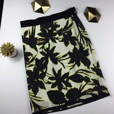 Ann Taylor Black Yellow Floral Silk Blend Skirt Size 4