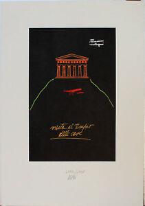 FABIO DE POLI serigrafia Visita al Tempio delle Case  70x50 firmata numerata