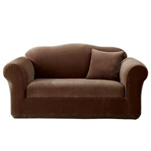 Loveseat Slipcover - Sure Fit Stretch Pinstripe - Chocolate Brown