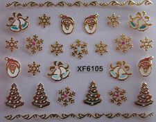 Christmas 3D Nail Art Stickers Decals Gold Snowflakes Santa Bells Lace XF6105