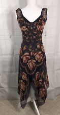 Anna Sui Anthropologie Black 100% Silk Dress W/ Floral Print, Size 2