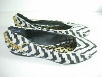 WOMENS IVORY BEIGE BLACK GOLD CHAIN COMFORT BALLET FLATS HEELS SHOES SIZE 6 M