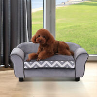 PawHut Pet Sofa Couch Dog Cat Wooden Enchanted Plush Foam Soft Cushion Grey