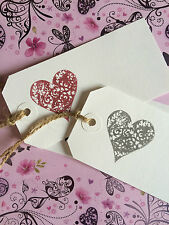 10 LARGE WHITE LOVE HEART WEDDING LABELS WISH TREE TAGS PLACE CARDS GIFT TAGS