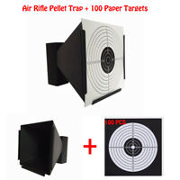 14cm Funnel Shooting Target Holder Pellet Trap + 100 Paper for Air Rifle/Airsoft