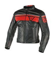 Dainese Blackjack Leather Jacket Black Red Retro Motorcycle Jacket NEW