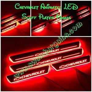 4pcs RED Chevrolet Animated Moving LED Light Door Sill Scuff Plates Protector