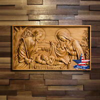 Wood Carved icon Holy Family picture painting sculpture statue figure artwork 3d