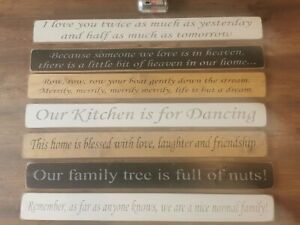 SHABBY CHIC WOODEN SIGNS HOME DANCING FAMILY