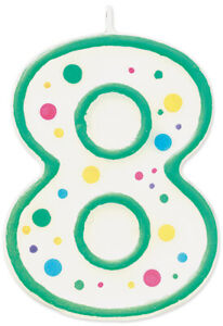 WILTON W91-08  8-GREEN -NUMERAL CANDLE