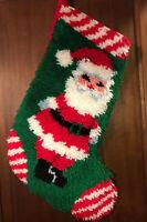 "Vintage HANDMADE Christmas Latch Hook SANTA Stocking 24""x 11"" Wide, 16"" Bottom"