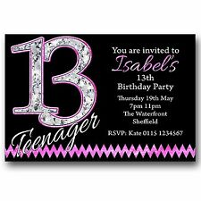 10 Personalised BOYS & GIRLS Teenager 13th Birthday Party Invitations T216